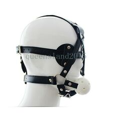 Black Leather Goggles Mask Eye Mask & Breathable Open Mouth Ball Slave Harness