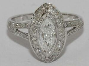 RING Ladies White Gold 14k Marquise GIA 0.71ct E VS2 1.39 cts