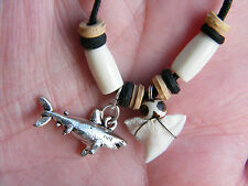 "REAL SHARK Teeth Necklace Mini Tooth & Great White Shark JAWS Charm 15""- 28"" NEW"