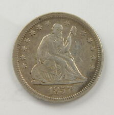 1857 US Mint Seated Liberty 25 Cent Quarter Silver Coin