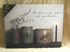 Lord is my Light and Salvation Lighted Canvas Wall Decor Sign Bittersweet Crock