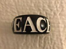 Wide Wooden Bangle Bracelet Painted Peace Letters EUC
