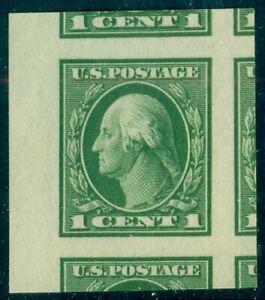 US #408, 1¢ green, imperforate, og, NH, GEM