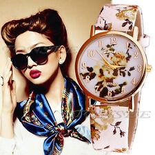 Flower Patterns Leather Band Analog Quartz Vogue Wrist Watch Yellow montre Y5