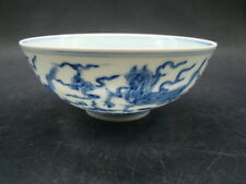 Chinese 1930's nice blue white bowl (mark) a7427