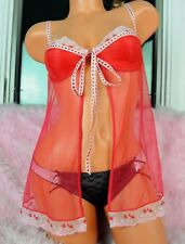 4cc41f8cdd VS Sheer Red Sexy Embroidered Lace Sissy Polka Dot Nightgown Nightie Top 34C