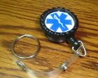 """EMS CADUCEUS Retractable Reel ID Badge Name Tag ID Holder Clip  1""""in. Key Ring."""