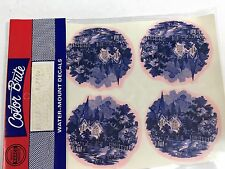 Ceramic decals blue and white church scene Lot of 32
