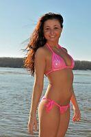 pink Holographic scrunch butt bikini puckered cheeky sexy hot neon trim