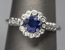 Handcrafted 1.00ctw Natural Blue Sapphire and Diamond Ring 14k