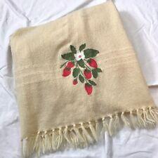 The Three Weavers Vintage Style 100% Wool Blanket Handwoven Ivory w/Strawberries