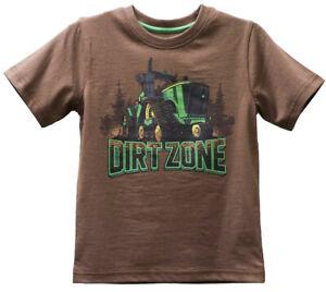 NEW John Deere Boys Brown Dirt Zone T-Shirt Sizes 4, 5, 6, 7