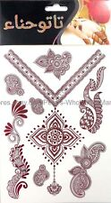 US SELLER, brown mehndi henna temporary tattoo waterproof party favor