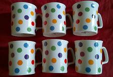 set of six spots/spotty FINE  bone china mugs brand new free post