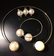 double pearl statement collar necklace、bangle、pearl hair clips set