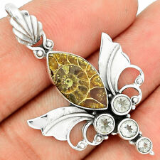 Ammonite & White Topaz sterling silver pendant-has fossilized shell look; beach