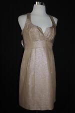 NWT AQUA DRESSES Women's Champagne Metallic Lined Formal Party Dress Sz6 L530
