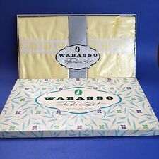 New Vintage 1950s Wabasso Yellow Embroidered Pillowcases Pair