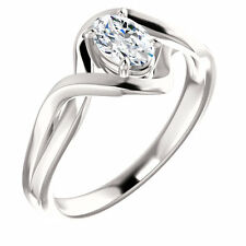 10k White Gold Setting Semi Mount Ring Oval Engagement Mounting Ring Solitaire