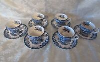 (6) Johnson Brothers Coaching Scenes Coffee Tea Cups & Saucers * Hunting Country