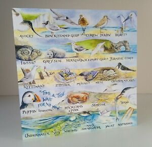 Greeting Card - Coast - Seaside, Sea Birds (Blank Inside) - Birthday, Notecard