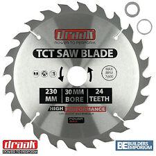 Draak 230mm x 30mm Bore 24 Tooth TCT Circular WOOD Saw BLADE Makita Bosch