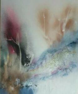 1986 Signed Gloria Allison Large Cuban Abstract Artist Original Painting Florida
