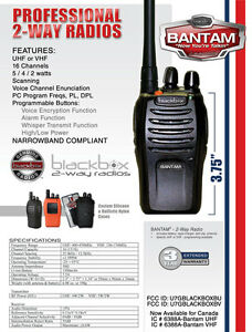 BlackBox Bantam Portable 2-Way Radio VHF or UHF Model