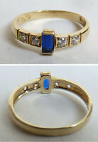 Bague en  OR massif 14 k + pierre bleue Bijou ancien gold ring