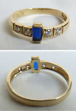Bague OR massif 14 k + pierre bleue Bijou ancien gold ring