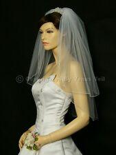 2T Ivory Bridal Elbow Length Pencil Edge Wedding Veil