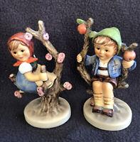 """Vintage Goebel Hummel """"Apple Tree Girl"""" #141 & Apple Tree Boy #142 Used-Good"""