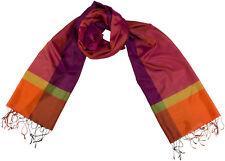 Seidenschal 100% Seide Silk ècharpe foulard silk Karo scarf stole Fransen Schal