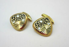 VINTAGE ART DECO STYLE GOLD TONED ETCHED CUFF LINKS    ***