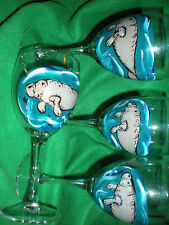 HAND PAINTED  MANATEES. 10 OUNCE GOBLETS/ SET/4