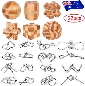 22X Brain Teasers Wooden & Metal Wire Puzzles Unlock Interlock Brain Puzzles UK