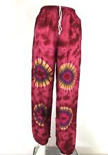 Beach Cover Up Pants High Waist Festival Pink Tie Dye Size XS/S