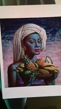 Tretchikoff  'fruits of bali' A3 print on heavy canvas paper  green lady