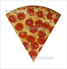 """2 12"""" PEPPERONI PIZZA SLICE Decal Sticker set for Delivery Shop Window Car Sign"""