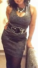 RIVER ISLAND SILVER-GREY MARL CUT-OUT MINI BODYCON DRESS with RED NECKLACE 16