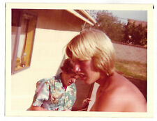 Vintage 70s PHOTO Pair Teen Boys, One Blond & No Shirt, Other In Hawaiian Shirt