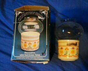 Country Brite Mini Hurricane Lamp Candle Holder Vintage kitsch ceramic/glass