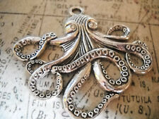 BULK Charms Large Octopus Pendants Antiqued Silver 10 pieces Wholesale Charms