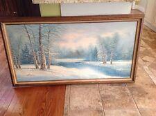 Vintage estate original oil painting by G. Whitman Winter landscape winter