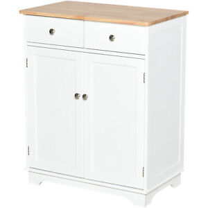 Modern Kitchen Cabinet Wooden Cupboard Storage w/ Drawers Adjustable Shelf White