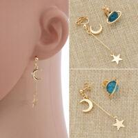 1 Pair Cute Blue Planet Earrings Moon Star Drop Dangle Girl Jewelry Accessories