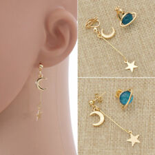 Women Korean Long Crystal Planet Earrings Moon Star Drop Dangle Women Jewelry