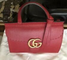 Gucci GG Marmont Top Handle Leather Satchel Crossbody Shoulder Bag Red