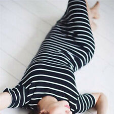 Women Summer Casual Striped Short Sleeve Maxi Dress Bodycon Cocktail Long DressD