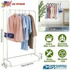 Portable Metal Clothes Garment Storage Rack Adjustable Rolling Clothing Stand